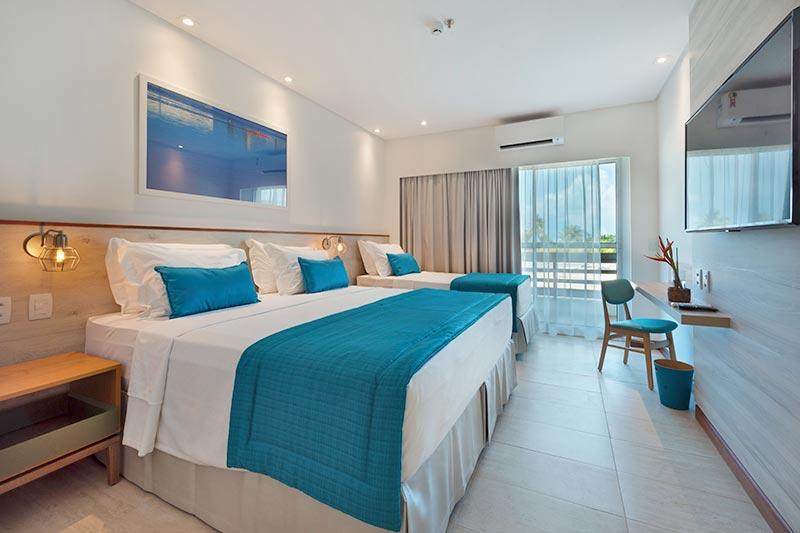 Acomodação com cama de casal e solteiro feito para família