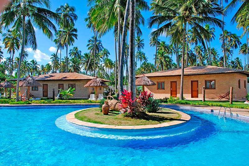 Parte central da piscina com detalhes no paisagismo